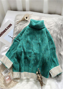 For Work fall green knit sweat tops plus size high neck patchwork Blouse