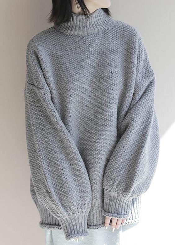 For Work gray knitwear plus size clothing high neck lantern sleeve knitted t shirt