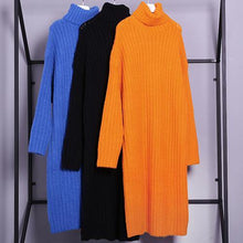 Load image into Gallery viewer, For Work high neck Sweater fall dresses Quotes black tunic knitwear