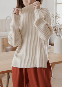 For Work high neck white sweaters plus size winter knitted top