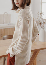 Load image into Gallery viewer, For Work high neck white sweaters plus size winter knitted top