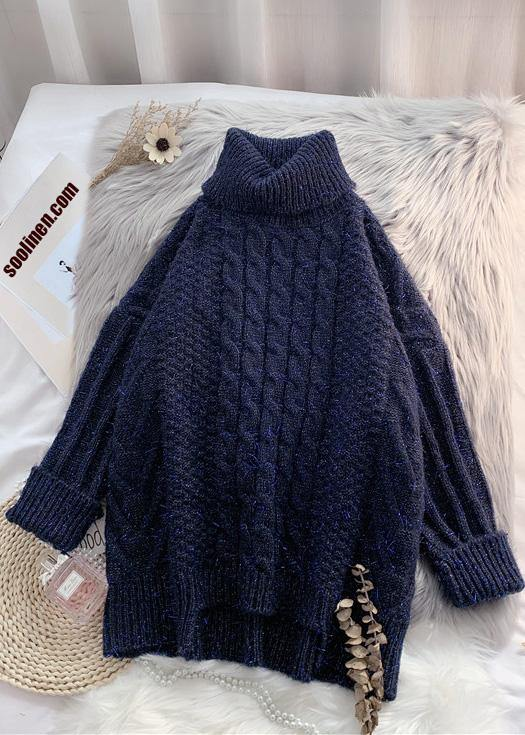 For Work navy clothes asymmetric hem oversized high neck knit tops