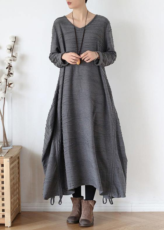 For Work o neck asymmetric Sweater dress outfit gray Funny knitted fall