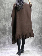 Load image into Gallery viewer, For Work o neck tassel Sweater weather Vintage chocolate Fuzzy sweater dress