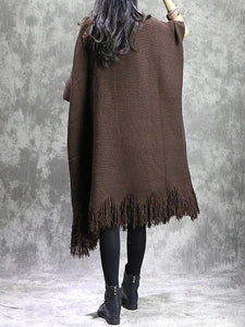 For Work o neck tassel Sweater weather Vintage chocolate Fuzzy sweater dress