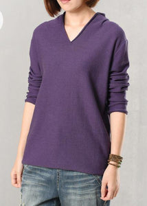 For Work v neck wild sweater casual solid color sweaters purple