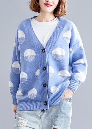 For fall v neck blue dotted knitwear plus size wild clothes