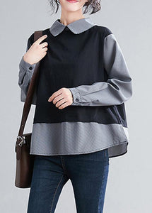 French Batwing Sleeve patchwork shirts women Sewing black shirts