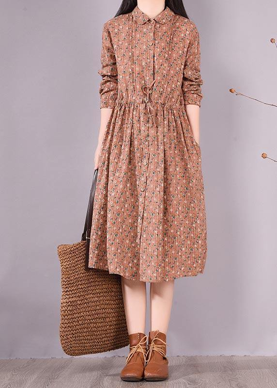 French Brown Print Dresses Lapel Drawstring Maxi Spring Dress