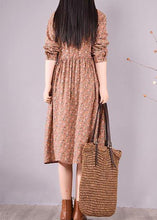 Load image into Gallery viewer, French Brown Print Dresses Lapel Drawstring Maxi Spring Dress