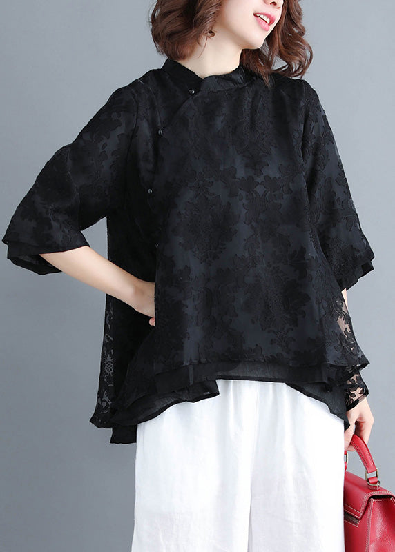 French Button lace clothes Women Inspiration black Plus Size Clothing shirt Summer