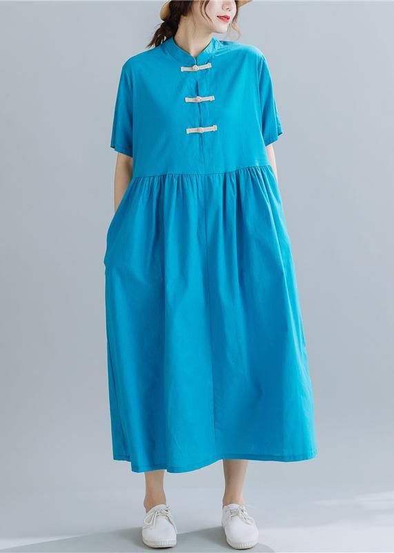 French Chinese Button linen summerWardrobes Wardrobes blue sttand collar Dress