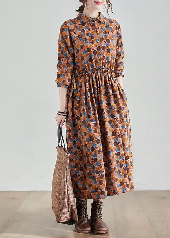 French Chocolate Print Long Lapel Cinched Traveling Spring Dresses