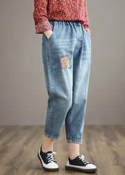 French Denim Blue High Waist Plus Size Clothing Spring Elastic Waist Patchwork Women Trousers