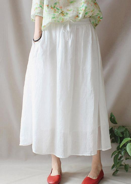 French Elastic Waist Large Hem Tunics Pattern White Traveling Dresses