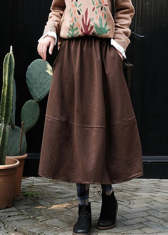French Elastic Waist Patchwork Spring Dresses Runway Chocolate Robe Skirt