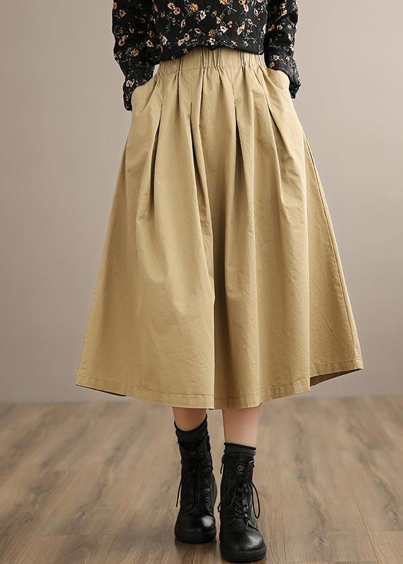 French Khaki Clothes For Women Elastic Waist Art Spring Dresses