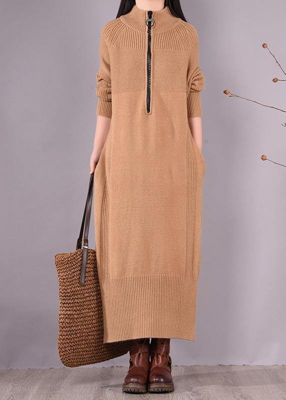 French Khaki Dress Zippered Pockets Dresses Spring Dress