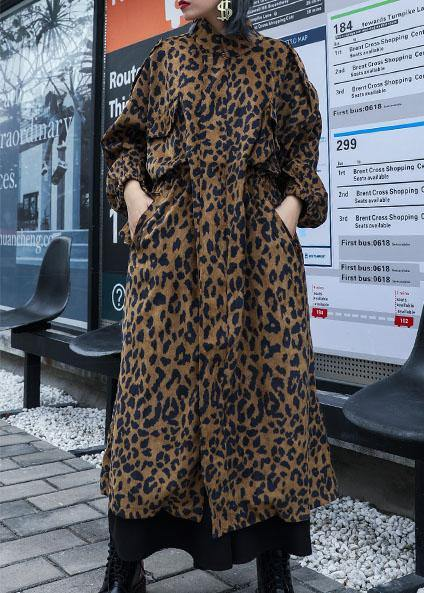 French Leopard Plus Size trench coat Gifts zippered fall coat