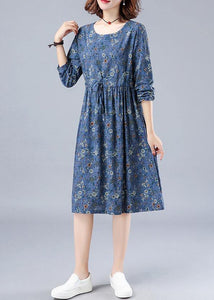 French O Neck Drawstring Spring Dresses Wardrobes Blue Print Dress