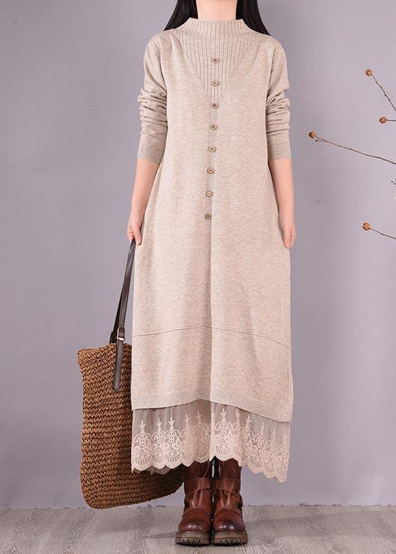 French O Neck Patchwork Lace Spring Clothes For Women Sewing Beige Robe Dresses
