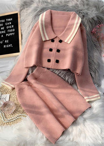 French Pink Knitted suit women's new short sweater Pullover skirt two piece set in early autumn 2020