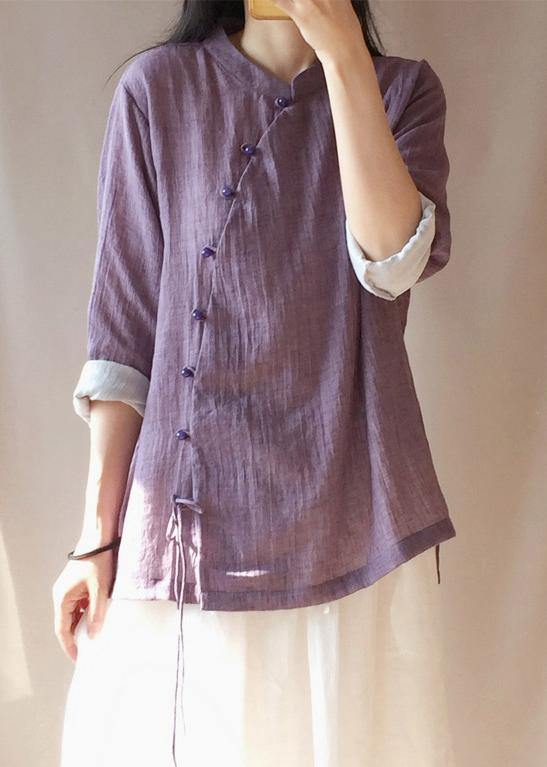 French Purple Tops Women Blouses Stand Collar Button Down Clothing Blouse