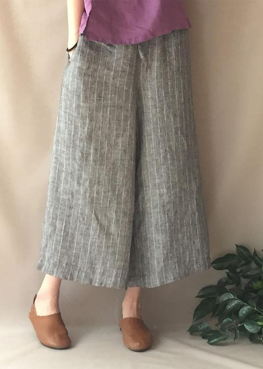 French Summer Women Pants Vintage Gray Striped Fabrics Pockets Pant