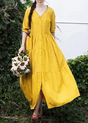 French V Neck Patchwork Spring Dresses Fabrics Yellow Plus Size Dresses