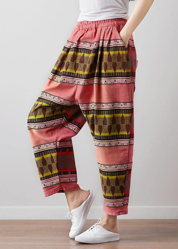 French Vintage red High Waist Pants For Women Pakistani Summer linen clothes