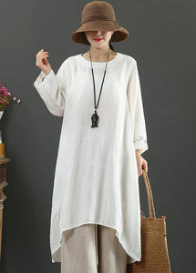 French White Embroidery Quilting Clothes O Neck Low High Design Long Spring Dress