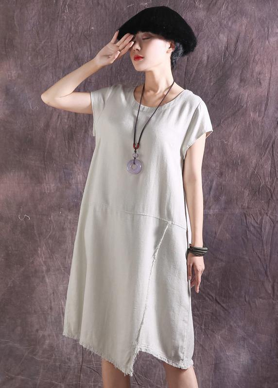 French asymmetric hem Cotton tunics for women design nude Dress summer