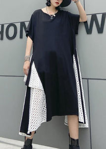 French asymmetric o neck cotton clothes pattern black cotton robes Dresses