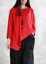 Load image into Gallery viewer, French asymmetric o neck cotton tunic pattern Neckline black top