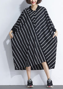 French asymmetric patchwork cotton dresses Women Sewing black striped cotton Dresses Summer