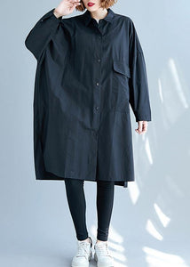 French black Cotton clothes side open Knee fall shirt Dress