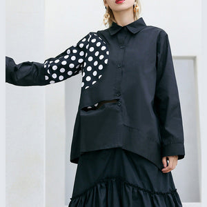 French black cotton Blouse Boho Christmas Gifts Turn-down Collar patchwork baggy shirts