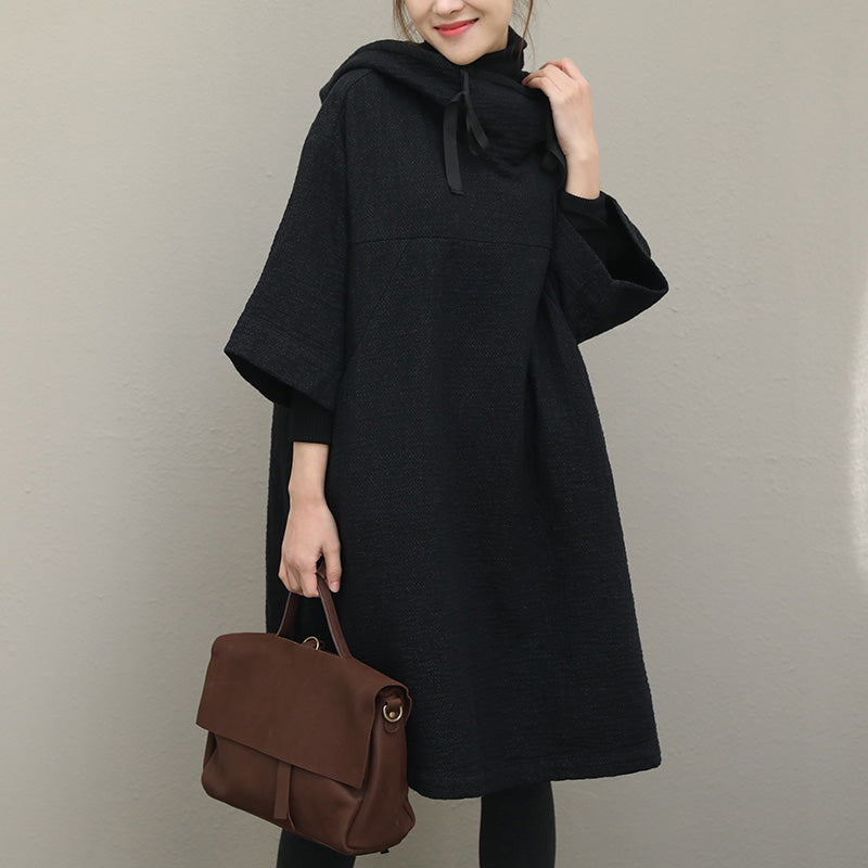 French black cotton Omychic Catwalk hooded Half sleeve Vestidos De Lino Dresses
