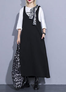 French black cotton Wardrobes sleeveless long summer Dresses