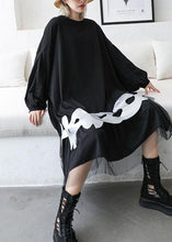 Load image into Gallery viewer, French black cotton dress o neck A Line patchwork Dress