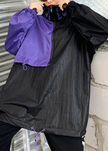 Load image into Gallery viewer, French black patchwork purple top Fabrics drawstring blouse