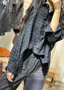 French black plaid linen tops women ruffles wrinkled loose fall blouses