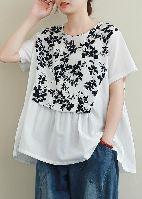French black print cotton clothes For Women o neck patchwork Art blouses