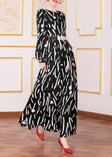 Load image into Gallery viewer, French black prints chiffon clothes tie waist Maxi big hem Dress