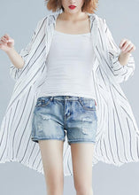 Load image into Gallery viewer, French black striped chiffon box top hooded daily summer shirts