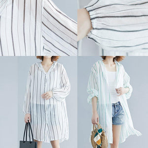 French black striped chiffon box top hooded daily summer shirts