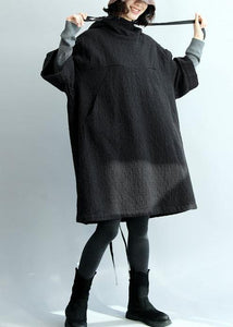 French black thick cotton clothes For Women hooded Traveling winter Dress
