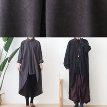 Load image into Gallery viewer, French black top quality trench coat Sewing lapel low high design outwears