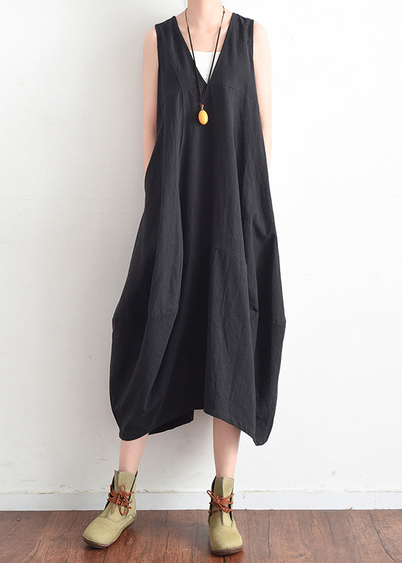 French black v neck linen clothes For Women stylish design sleevless loose summer Dress