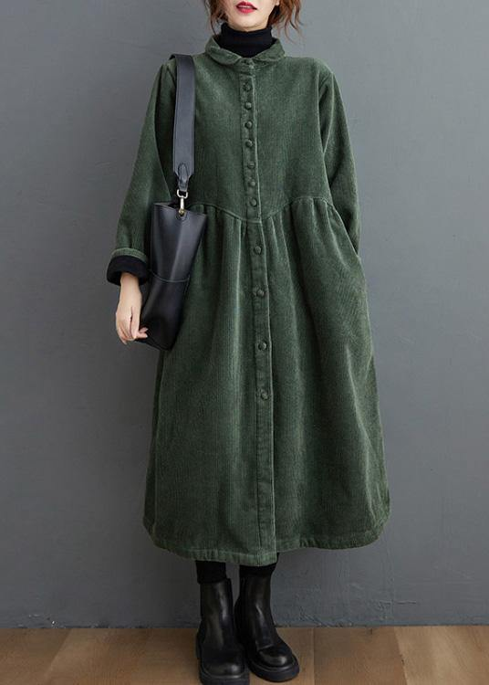 French blackish green corduroy coats Inspiration thick Cinched women coats ( Limited Stock)